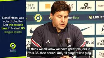Preview image for Pochettino says he makes subs for the team after Messi hauled off v Lyon