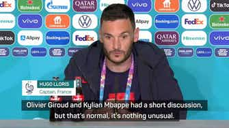 Preview image for Lloris talks down Mbappe-Giroud fall out