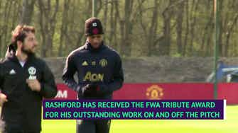 Preview image for  Rashford honoured by Ferguson and Rooney tributes after receiving FWA award