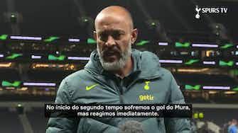"""Imagem de visualização para Nuno comemora goleada na  Europa Conference League: """"Importante para nós"""""""