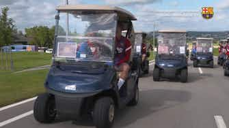 Preview image for FC Barcelona players drive to training in golf carts