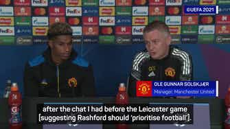 Preview image for Solskjaer clears the air after telling Rashford to 'prioritise football'