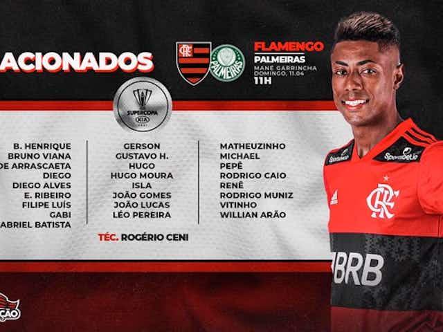 Flamengo divulga relacionados para jogo da Supercopa contra o Palmeiras