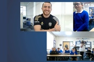 Jack Harrison meets students at South Parade Primary School