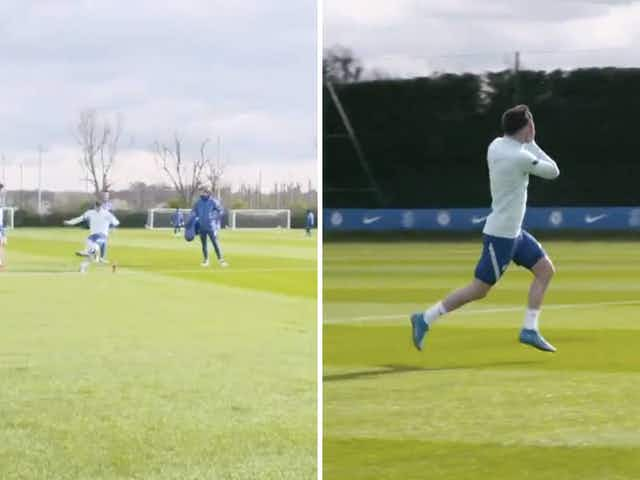 Video: Chelsea star Mason Mounts hits water bottle with insane pinpoint strike before wheeling away in celebration