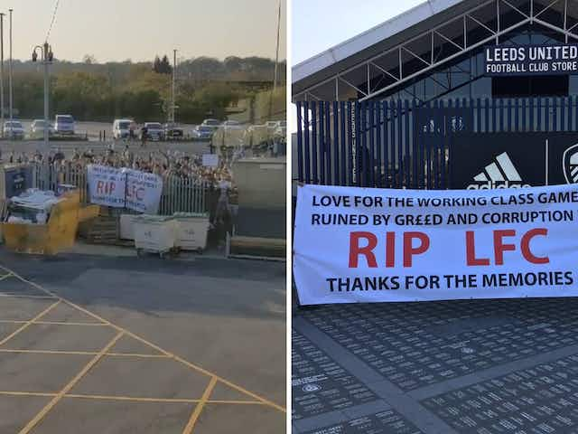 Video: Fans stage anti-European Super League protest outside Elland Road ahead of Leeds vs Liverpool