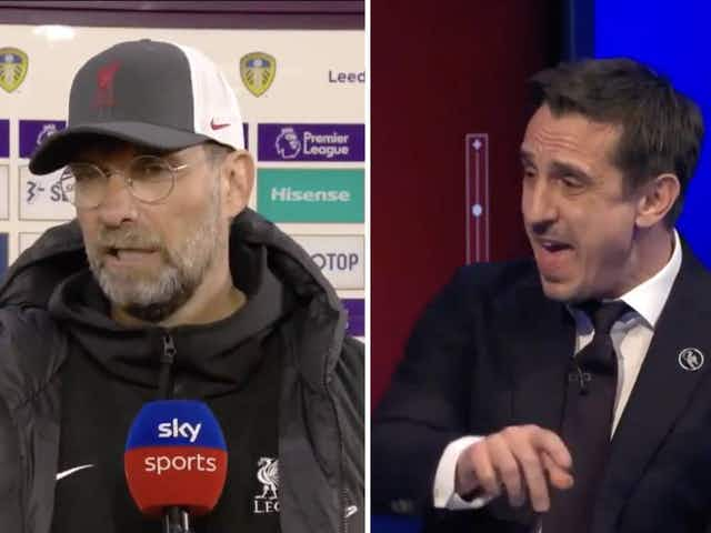 "Video: ""I don't know why I'm living in his head"" – Gary Neville and Jurgen Klopp go to war on Sky Sports MNF"
