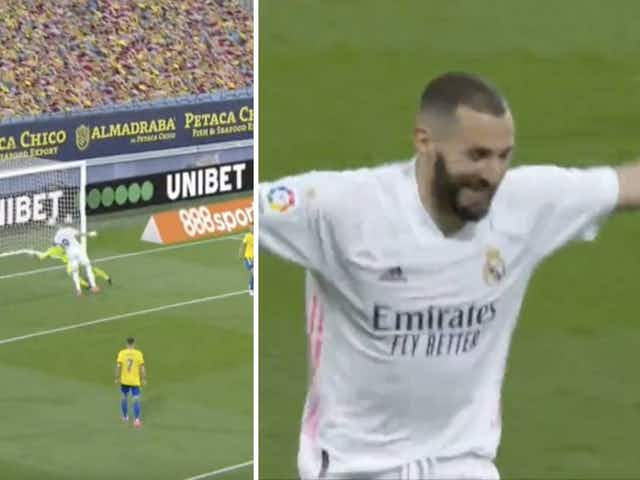 Video: Karim Benzema glancing header gives Real Madrid three-goal buffer on the stroke of half-time