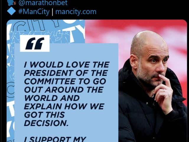 Photo: Man City's Twitter admin goes rogue and highlights Pep Guardiola's comments about the ESL