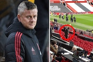 (Photo) Man United star spotted on crutches in Old Trafford stands two weeks before Europa League final