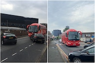 (Photos) – Some Man United fans block Liverpool coach and slash it's tires as protesting fans look to disrupt Old Trafford fixture once more