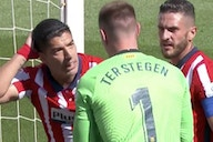 Video: Ter Stegen loses his cool with former Barcelona star Luis Suarez after a comical attempt to win a penalty for Atletico Madrid