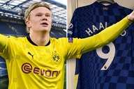 Photo: Chelsea target Erling Haaland caught wearing Leeds United shorts as he signs autographs