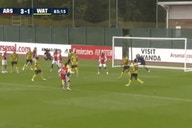 Video: Miguel Azeez curls sweet strike from outside the box beyond Watford's keeper to extend Arsenal's lead