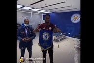 (Video): Leicester defender disrespects traditional Chelsea gift to set up juicy Tuesday rematch