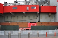 (Photo) Man Utd erect massive wall outside Old Trafford in fear of more protests ahead of Liverpool clash