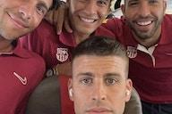 Barcelona centre-back Gerard Pique's selfie marathon continues