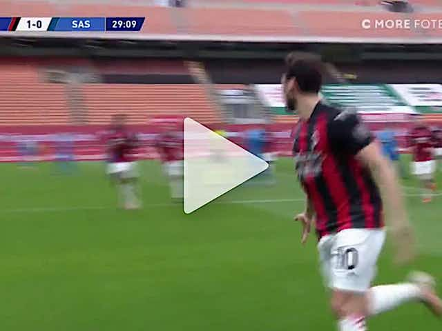Watch: Calhanoglu gives Milan the lead against Sassuolo with sensational curling shot