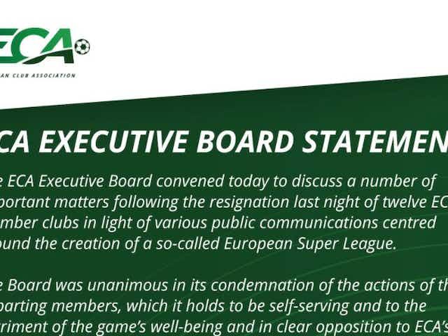 (Image) Fresh ECA statement on European Super League