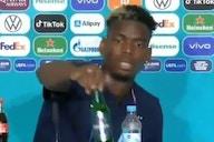 Pogba 'imita' Cristiano Ronaldo: agora, garrafa de cerveja vai para o chão