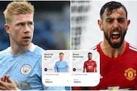 Kevin De Bruyne vs Bruno Fernandes: Stats comparison of Man City and Man Utd stars