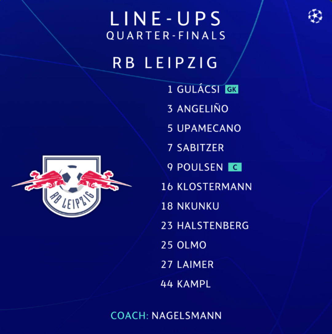 Rb Leipzig And Atletico Madrid Name Line Ups For Quarter Final Tie Onefootball