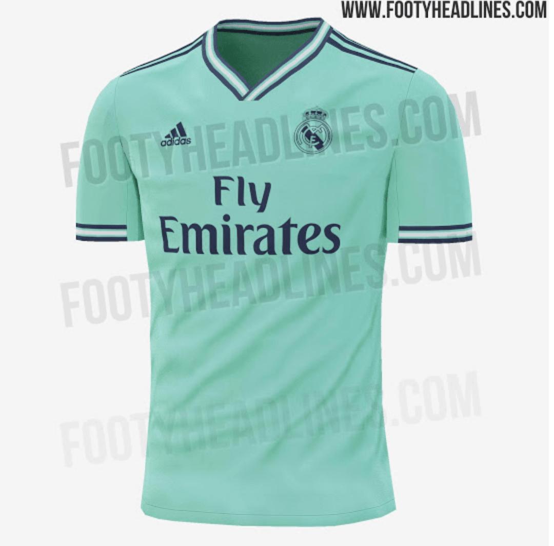 7402d6f53b ... da nova terceira camisa do Real Madrid para a próxima temporada. Longe  de ser tradicional, o modelo será verde-menta, com listras em azul e branco.
