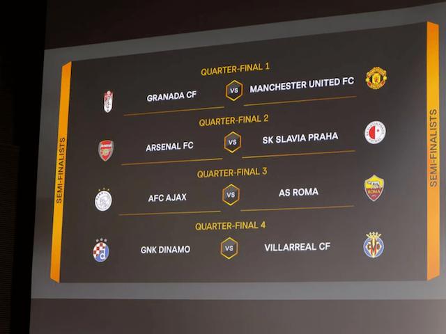 Definidos os confrontos das quartas da Liga Europa