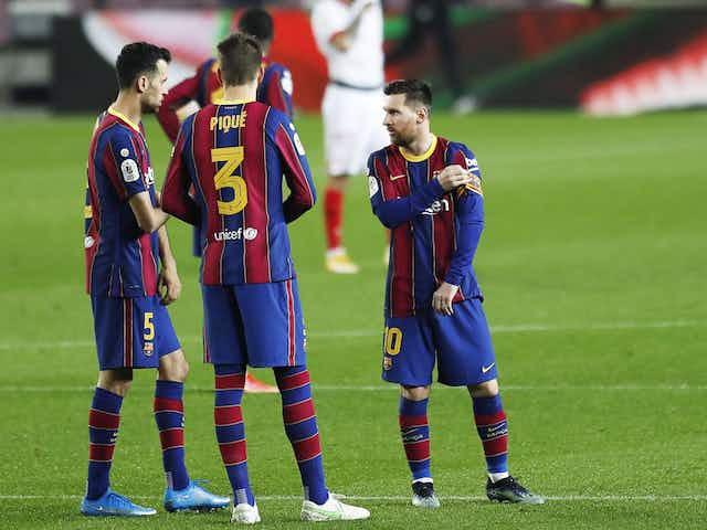 Messi, Piqué y Busquets tocan el cielo de la Copa del Rey